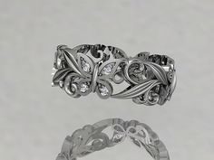 14kt  white gold diamond leaf and vinel butterfly by anjaysdesigns, $855.00