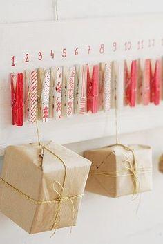 adventní kalendář z kolíčků