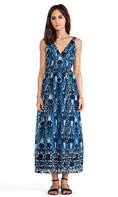 Anna Sui Zig Zag Bouquet Print Maxi Dress in Indigo.  Love the length, color, and print of this dress ... needs something underneath and it's perfect :)