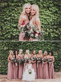 These oversized bouquets are so unique all together for a picture like this. Plus, the flower girl dress is stunning.