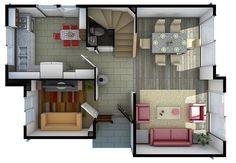 Plano de casa de 3 habitaciones en 2 pisos