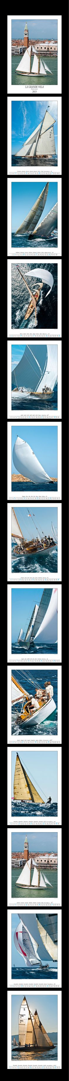 Calendar 2013, This large size calendar presents 12 colourful images with a clean graphic composition, covering the most important events in the world of sailing. Franco Pace captures with his camera the elegance of classic yachts, the advanced tecnology of modern racing boats and the charm of traditional working boats.    It is possible to have a personalized version for companies. Size: 48 x 68 cm  (18.9 x 26.8 in.)  Christmas gifts, Sailing, Classic Boat, $33,00   Ph. Franco Pace
