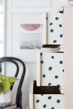 DIY Peekaboo pattern in a chest of drawers featuring JuJu Wallpaper Sisters Of The Sun