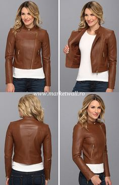 Michael Kors Leather Moto Polished Jacket