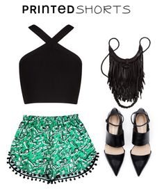 """""""Untitled #454"""" by ichanee ❤ liked on Polyvore featuring BCBGMAXAZRIA and printedshorts"""