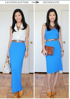 Maxi skirt outfits -different ways to wear it.