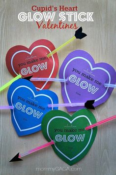 Glow sticks. | 23 No-Candy Valentines Kids Will Love Even More Than Sugar  Just skip the play-doh (contains gluten/wheat) and the slime and you'll be set for a lovely inclusive safe Valentine celebration.  I'm pretty sure teachers will be glad you skipped out on the homemade slime to put in each of those little heart shaped containers! Instead, consider putting a gem, bead, rock, or other tiny treasure.