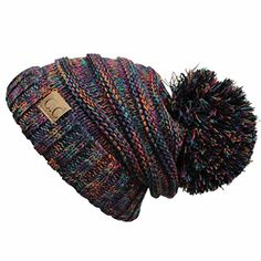 Hatsandscarf CC Exclusives Unisex Oversized Slouchy Beanie with Pom (HAT-6242POM)  (BLACK MULTI AMAZON) at Amazon Women s Clothing store  eda5aff915ca