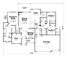 European Style House Plans - 2701 Square Foot Home, 1 Story, 3 Bedroom and 2 3 Bath, 3 Garage Stalls by Monster House Plans - Plan Best House Plans, Dream House Plans, House Floor Plans, European House, French Country House, European Style, Home Design Floor Plans, Plan Design, Cafe Floor Plan