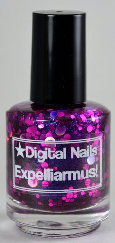Expelliarmus : Martha Jones and  Doctor Who inspired royal purple jelly and circle glitter nail polish by Digital Nails