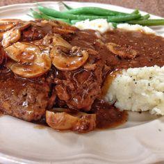 Venison Salisbury Steak with Homemade Mushroom gravy | Moose Recipes, Recipes With Venison Steak, Cooking Venison Steaks, Wild Game Recipes, Recipes With Deer Meat, Cooking A Roast, Cooking Pork Chops, Cooking Beets, Cooking Turkey