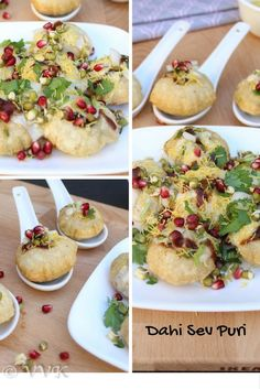 Dahi Sev Puri - Deep fried mini puris filled with spiced up yogurt, boiled pototoes, sev pomegranate seeds, sprouts and with sweet chutney pani puri chutney toppings.