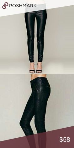 """Free People Black Vegan Leather Moto Zip Jeans Free People Black Vegan Leather Moto Zip Jeans Pants Size 26  Color:Black Style: Moto Waist: 26"""" Inseam: 29""""  -3 Zip Pockets -Button Closure -Zip Fly - Seamed -Low Rise -2 Back Pockets There is a defect in the stitching on the nee of the left leg that can be seen in the last two images. It is mostly on the inside and not the outside Free People Jeans Skinny"""
