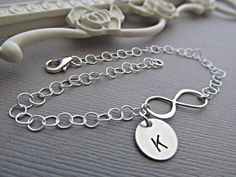 Bridesmaid gifts Silver Infinity bracelet by Daisymetalcreations, $33.00