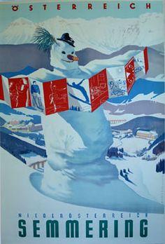 "vintage Austrian ski poster - ""Semmering."". Circa 1950s"
