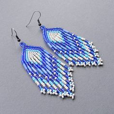 Blue Native American Style Long Seed Bead Earrings by Anabel27shop,