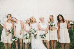 neutral bridesmaid dresses - photo by Ashley Kickliter http://ruffledblog.com/alabama-railyard-wedding