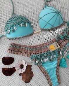 Angerella Womens Push Up Tankini Summer Beach Swimsuit Swimwear Bikini,Light Green-two,US Size Crochet Bra, Crochet Clothes, Diy Clothes, Clothes For Women, Bikini Swimwear, Swimsuits, Sexy Bikini, Camping Outfits For Women, Cute Bikinis