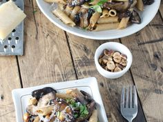 Brown Butter Mushrooms with Hazelnuts and Whole-Wheat Pasta | This whole-wheat pasta has lots of brown butter mushrooms and toasted hazelnuts. #wholewheatpastarecipecooking