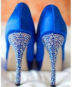 Something blue for your wedding look. Sparkly blue heels are a great pop to show a bride's personality!