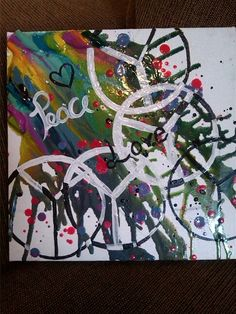 Melted Crayon Art#3 Peace signs.