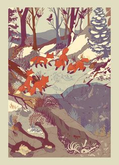 Fisher Fox Art Print - Love the colours