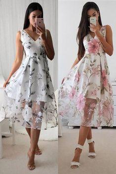 Vestido Midi elegant dress and fashion for women Cute Prom Dresses, Elegant Dresses, Pretty Dresses, Beautiful Dresses, Short Dresses, Bridesmaid Dresses, Summer Dresses, Formal Dresses, Vestidos Fashion