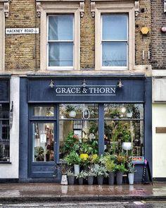 Grace and Thorn, London, England Cafe Exterior, Storefront Signs, English Shop, Belle Villa, Cafe Shop, Lovely Shop, Shop Fronts, Store Displays, Shop Interiors