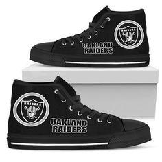 huge discount e49b2 c5666 Circle Logo Oakland Raiders High Top Shoes - YourCoolColor Circle Logos, Oakland  Raiders, Top