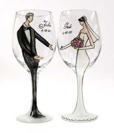 c2bf7172809 These personalized bridal wine glasses hand-painted by local artist Gail  Corso are must-have wedding season buys!