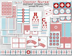 INSTANT DOWNLOAD Doctor Party or Nurse Party - can be used for a birthday or a graduation! Party package by Pepper Avenue