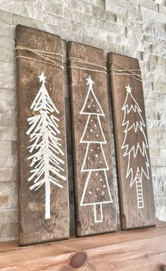 Rustic Christmas Tree Signs - 3 Piece Set, Rustic Christmas Decor, Christmas mantel, Farmhouse Christmas Decor, Christmas signs, Christmas wall art, Rustic Decor, Gallery Wall Decor #ad
