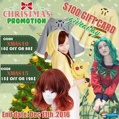 Say Hello To Christmas  , Get Ready For Your Christmas Gifts Now  ! ~  Promotion Codes  ~ Code:Xmas10 - 10$ Off On 80$ Spend  Code:Xmas15 - 15$ Off On 120$ Spend Here You Are , Free 100$ Store Credit!  1. Follow @cospicky 2. Like and Repin this pic  3. Finish above and enter here: https://goo.gl/s8zviv 4.Ends on Dec 11th, 2016
