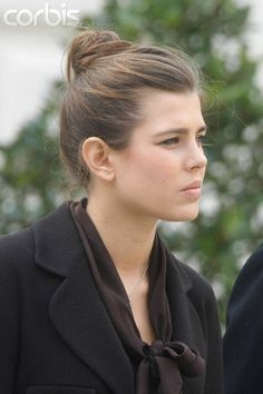 Simple but elegant updo on Charlotte Casiraghi, pictured here at the annual Thanksgiving mass in 2007.