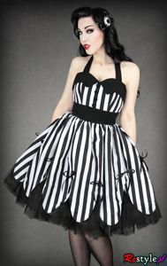 pin up dress in black and white stripes with petticoat