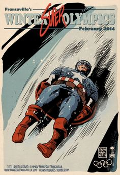 So fun! Artist Francesco Francavilla cheers on the spirit of the #Olympics with these illustrations of #Marvel and #DC heroes competing in the Winter games. http://logo.to/1m6WZbc