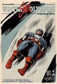 Superheros JO2014 CaptainAmerica Bobsleigh Affiches Vintage: Les Super Héros aux Jeux Olympiques dHiver