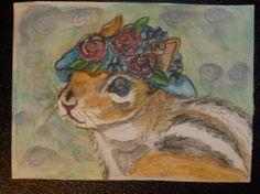 ORIGINAL  ACEO  #WATERCOLOR PENCIL ART #PAINTING #CHIPMUNK ANIMAL HAT  SFA GINA