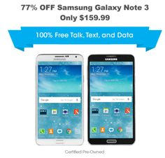 """FreedomPop has the Certified Pre-Owned Samsung Galaxy Note 3 5.7"""" 3G Smartphone + Unlimited Talk, Text, & 1GB Data Trial + Premium Plus Service Trial for a low $159.99 Free Shipping. Tax in CA."""