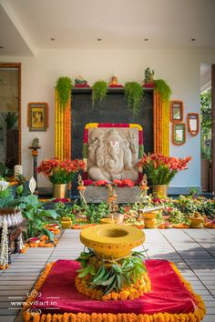Haldi/ Pelli kooturu/ nalugu ceremony decor with rokali marigold decoration and ganesha photography www. Wedding Hall Decorations, Marriage Decoration, Engagement Decorations, Backdrop Decorations, Diwali Decorations, Festival Decorations, Flower Decorations, Background Decoration, Garland Wedding