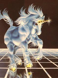 Vintage 1982 Sue Dawe Unicorn Resin Coated Wall by venusloon,