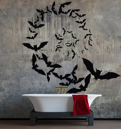 Vampire bats spiral formation vinyl wall decal by ValdonImages #Halloween #wallart #gothic #homedecor
