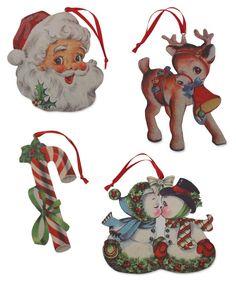 Retro Christmas Diecut Ornaments | Retro Santa, Reindeer and Snowman