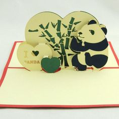 I heart Panda  greeting card  Pop up card panda card panda and bamboo