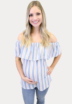 Summer Maternity Stripes - Sexy Mama Maternity Cute Maternity Outfits, Pregnancy Outfits, Pregnancy Shirts, Maternity Tops, Maternity Fashion, Summer Maternity, Pregnancy Looks, Stripes Fashion