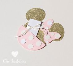 Minnie Mouse Invitation Gold Minnie Mouse by ChicInvitationsByCA