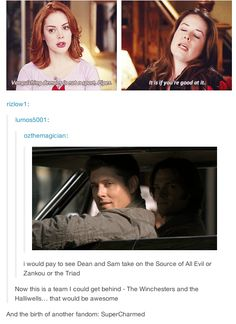 SuperCharmed GIFset I am totally behind this, Piper working with Dean would be hilarious. They could vanquish every demon on the continent in one week. <-- True that!