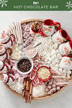 This enticing cocoa station is perfect for holiday parties, offering hands-off hosting and an instant gathering spot for your guests. Christmas Goodies, Christmas Desserts, Christmas Treats, Holiday Treats, Holiday Parties, Christmas Birthday Cake, Christmas Candy Bar, Christmas Recipes, Party Platters