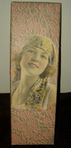 Antique Lithograph Woman 1920s Paper Covered Gift Glove Box - The Gatherings Antique Vintage.  Although this item is sold visit The Gatherings Antique Vintage for other advertising and gift boxes from a time period long ago.