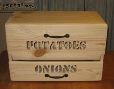 Countertop Potato Bin w/ Onion Drawer. $119.00, via Etsy. <--- I need this.